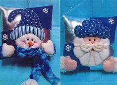 Resultado de imagen para como elaborar cojines navideños Christmas Sewing, Blue Christmas, Felt Christmas, Christmas Holidays, Christmas Projects, Felt Crafts, Christmas Crafts, Christmas Ornaments, Elf Christmas Decorations