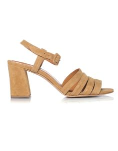 Block heel sandal in soft tan suede with buckle Block Sandals, Block Heels, Floral Evening Dresses, Suede Sandals, Warm Weather, Open Toe, Ankle Strap, Band, Summertime