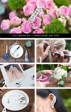 DIY: embellished ear cuff Of course it doesn't have to be rhinestones. Jewelry Crafts, Handmade Jewelry, Do It Yourself Jewelry, Bijoux Diy, Diy Accessories, Diy Earrings, Diy Projects To Try, Diy Clothes, Diy Tutorial