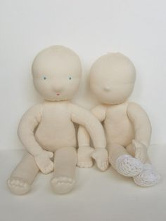 """TWO Waldorf dolls 15"""" BLANK without hair - Ready-to-Finish- Filled Doll Body…"""