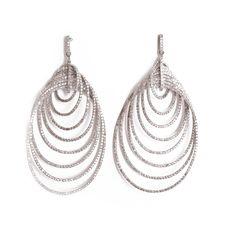 Nidhi Earrings.  Multi loop white gold earrings set with rose cut diamonds.