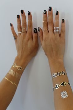 Glam up your bracelet stack || tattoos by @tribetats