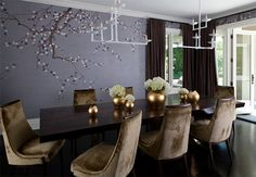 Velvet Dining Chairs in 20 Sophisticated Dining Rooms | #6 Atherton, CA New Home Construction | Image: Kathryn MacDonald Photography & Web Marketing | ◆pinned because I LOVE the Dark Lilac-berry color of the wallpaper along, w/the mocha (if it IS mocha...) color of the drapes...◆