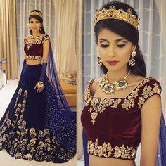 """Majestic Splendor   Proud to present my beautiful princess @roshinidaswani on her Sangeet night last night wearing a magnificent velvet ensemble complete…"""