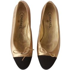 check out 17a6e 8ff3f Preowned Chanel Gold Black Ballet Flats 1990 s