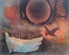 """Vicente Martín """"Barco y luna"""" Acrílico sobre tela  50 x 65 cm. Firmado arriba a la izquierda  http://www.portondesanpedro.com/ver-producto.php?id=12205"""