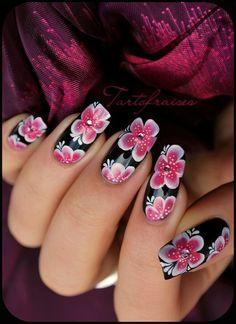 Black & pink flowers