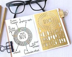 Bullet Journal Stencil, Planner Stencil, Calendar Wheel Alphabet Stencils - fits pocket, passport and field note (CW S)