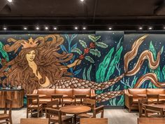 Mural for Starbucks in Mexico City. Starbucks Art, Starbucks Siren, Office Interior Design, Office Interiors, Mural Art, Wall Murals, Scotland Travel, Mexico City, Brewery
