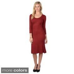 Sangria Women's Three-Quarter Sleeve Fit and Flair Cable Knit Sweater Dress