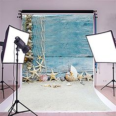 SUSU Photography Backgrounds 5x7ft Blue Wood Fence Beach Backdrop Photo Shell Sandy Photo Studio