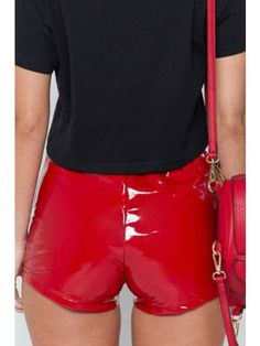 Sexy High Waist Lacing Shorts for Women in Solid PU # Shorts Outfits Women, Outfits Casual, Fashion Outfits, Skinny Shorts, Sexy Shorts, Women's Shorts, Lycra Leggings, Leder Outfits, Romper With Skirt