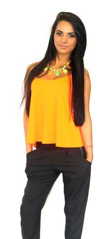 Neon orange cami swing top