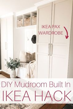 Use this awesome IKEA hack to make this budget-friendly DIY mudroom built in We love this awesome IKEA hack for making DIY mudroom built ins. This DIY mudroom was so budget-friendly and didn't require too much custom building. Mudroom Cabinets, Mudroom Laundry Room, Ikea Cabinets, Laundry Room With Storage, Closet To Mudroom, Mud Room Garage, Entry Closet, Small Laundry, Ikea Pax Wardrobe