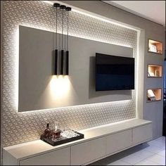 5 Amazing Ways to Upgrade Your Living Room TV Wall - Are you bored with the same old flat screen arrangement? Then why not try one of these five amazing ideas for your living room TV wall. Living Room Tv Unit Designs, Ceiling Design Living Room, Tv Wall Design, Kitchen Room Design, Home Room Design, Home Interior Design, House Design, Kitchen Designs, Room Kitchen