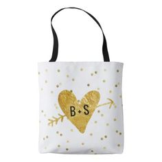 #bride - #faux gold foil heart with arrow bride groom tote bag
