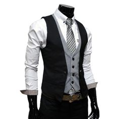 White shirt, grey tie, grey vest, dark blue over-vest, and a chain? Who wouldn't like this?