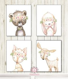 SALE Lot 4 Bunny Bear Deer Fox Woodland Wall Art Print Boho Bohemian Anemone Floral  Greenery Nursery Baby Girl Room Set 4 Prints Printable Home Décor from Pink Forest Café - Follow on Pinterest! Welcome to Pink Forest Café!  Your one stop shop for all things printable! Wall Art, Stationery, Invitations and Announcemen