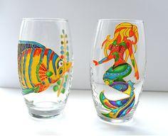 Wine Glasses Mermaid Party Mermaid Wine Glass Mermaid Drinking Glass Housewarming gift Fish Glasses Sea glass Juice Glasses Mermaid Decor