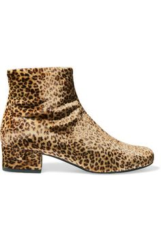 Heel measures approximately 40mm/ 1.5 inches Leopard-print velvet Concealed zip fastening along side Made in Italy
