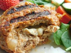 Turkey burgers stuffed with cheese and salsa