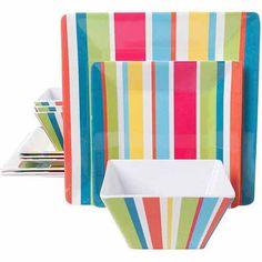 Gibson Home 12-Piece Bold Stripes Dinnerware Set, Square