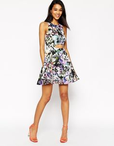 Image 4 ofASOS Bright Pansy Cut Out Skater Dress