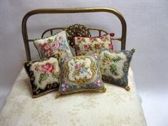 Nicola Mascall petit point cushions