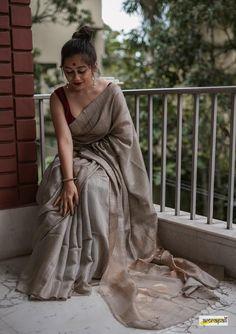 Handwoven pure matka eri jamdani silk saree adorned with zari woven gold butas Dress Indian Style, Indian Dresses, Indian Outfits, Saree Designs Party Wear, Saree Blouse Designs, Saree Poses, Sari Dress, Saree Photoshoot, Indian Designer Outfits