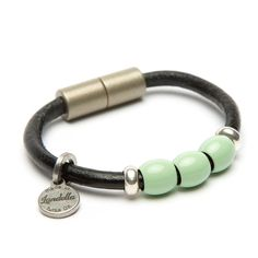 Chunky black leather Landella bead bracelet with Mint Green and Champagne Beads & Magnetic Clasp