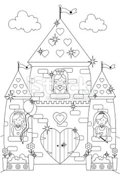 Fairytale Sparkly Castle and Princess Characters to Color In. Royalty Free Stock Vector Art Illustration