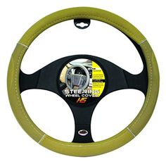 """Steering Wheel Cover Tan / Chrome / Tan 15""""to 16"""" Larger Steering Wheel Covers - Brought to you by Avarsha.com"""
