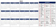 2019 US Holiday Calendar Template