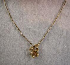 SOLD Vintage Avon Dogwood Blossom Flower Pendant Necklace, Gold Tone & Cream 1980 #Avon #Pendant