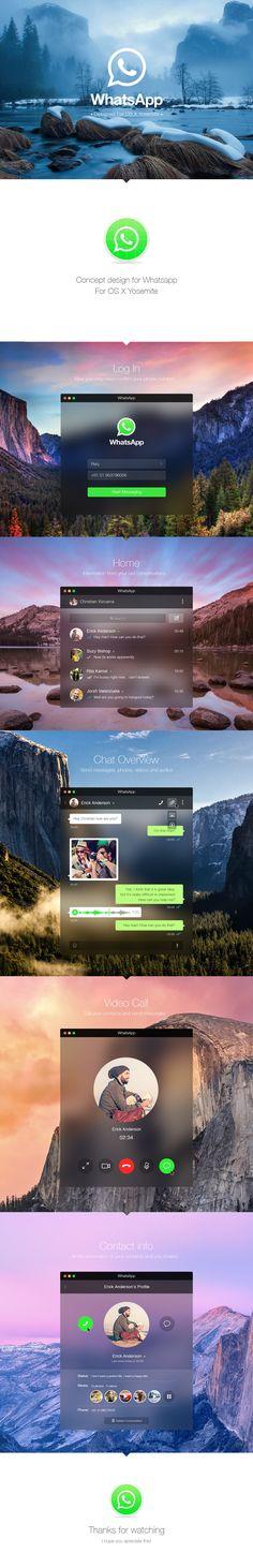 WhatsApp for OS X Yosemite - App design concept on Web Design Served Mobile Ui Design, Ui Ux Design, Email Design, Graphic Design, Ui Design Inspiration, Design Ideas, Branding, Ui Web, User Interface Design