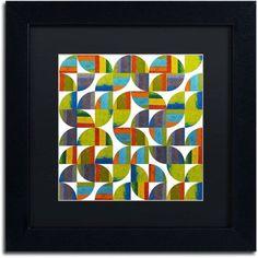 Trademark Fine Art Quarter Rounds 8.0 inch Canvas Art by Michelle Calkins, Black Matte, Black Frame, Size: 16 x 16, Green