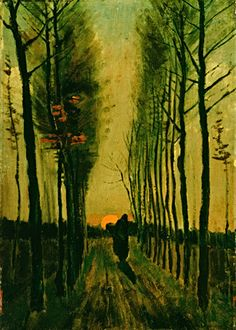 Vincent van Gogh, Lane of Poplars at Sunset, 1884 on ArtStack #vincent-van-gogh #art