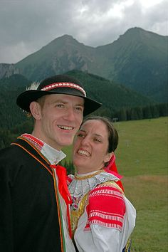 So called Gorals from High Tatras region from Zdiar village Folk Costume, Costumes, High Tatras, 7 Continents, Traditional Outfits, Evolution, Captain Hat, Faces, Europe