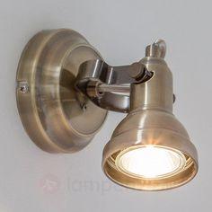 LED-wandspot Perseas, oudmessing