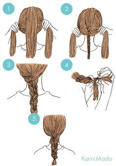 アンバランスな編み目がキュートな三つ編みアレンジ【イラスト付き】ー髪のお悩みやケア方法の解決ならコラム|Tiful(ティフル)