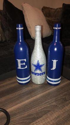 Jadeecreations Wine Bottle Centerpieces by JadeeLLC Wine Glass Crafts, Wine Bottle Crafts, Jar Crafts, Alcohol Bottle Decorations, Dallas Cowboys Crafts, Painted Wine Bottles, Liquor Bottles, Diy Bottle, Glass Bottle