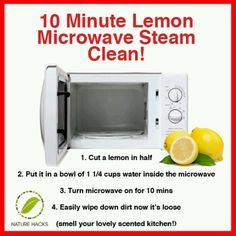 cleaning microwave Pinner said quot;Just did this, and it worked beautifully! I hate cleaning the microwave, but this made it so easy. Household Cleaning Tips, Homemade Cleaning Products, Steam Cleaning, House Cleaning Tips, Natural Cleaning Products, Spring Cleaning, Cleaning Hacks, Kitchen Cleaning, Cleaning Supplies
