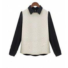 Black Womens Peter Pan Collar Button Long Sleeve Patchwork Tops Blouse Shirts