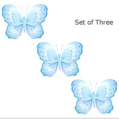 Set of 3 Small 7 Hanging Butterfly Blue White Triple Layered Nylon Butterflies Glitter Baby Nursery Bedroom Girls Room Ceiling Wall Decor Wedding Birthday Party Shower Home Playroom Decoration -- Check out this great product.