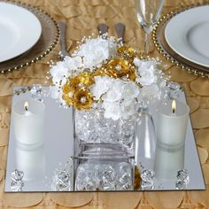 Efavormart Square Glass Mirror Wedding Party Table Decorations Centerpieces - 4 Pcs on Wedding Ideas 1844 Wedding Reception Centerpieces, Wedding Flower Arrangements, Wedding Favors, Wedding Ideas, Wedding Planning, Wedding Ceremony, Wedding Parties, Wedding Venues, Wedding Invitations