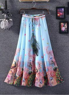 New Sky & Pink Faux Georgette Printed Skirt Lehenga Choli, Sarees, Western Tops, One Piece Dress, Casual Skirts, Printed Skirts, Tie Dye Skirt, Designer Dresses, High Waisted Skirt