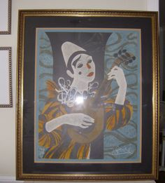 """""""CLOWN BLANC a la MANDOLIN"""" by YVE GANNE (listed)- Signed, Dated and Framed"""
