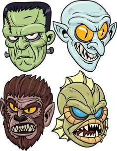 Recortables para Halloween - printable monster Theme Halloween, Halloween Rocks, Zombie Drawings, Art Drawings, Arte Horror, Horror Art, Zombie Cartoon, Frankenstein Art, Desenho Pop Art