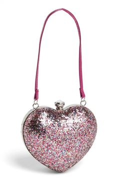Capelli of New York Glitter Heart Shaped Handbag (Girls) Glitter Hearts, Felt Hearts, Pink Glitter, Beaded Purses, Beaded Bags, Summer Accessories, Barbie Accessories, Vintage Purses, Vintage Handbags
