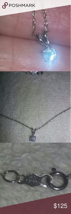 "14k WG DIAMOND NECKLACE This is a lovely  natural diamond approx. 1/4 carat set in a 14k white gold setting and chain 16"". Jewelry Necklaces"